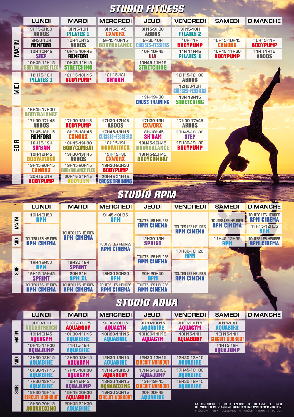 planning des cours collectifs club energie aqua fitness orleans