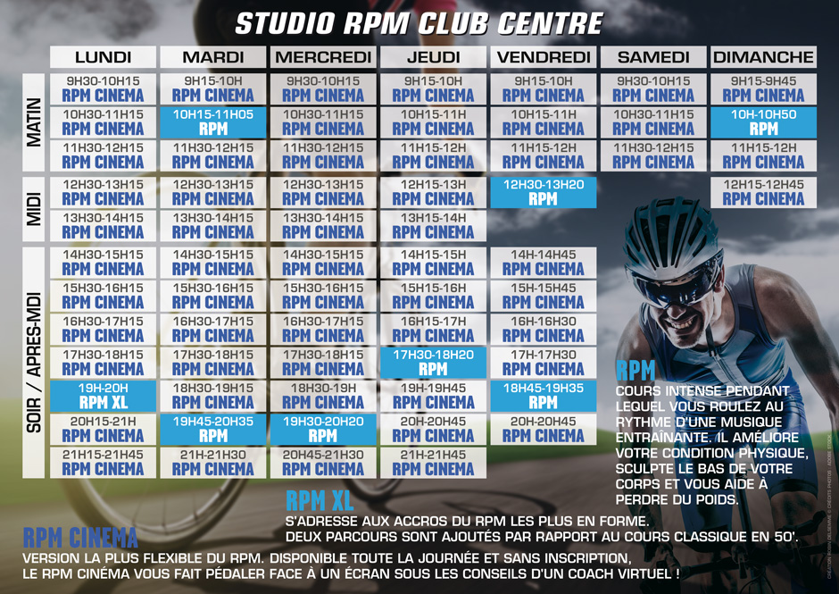 planning des cours rpm club energie aqua fitness orleans centre