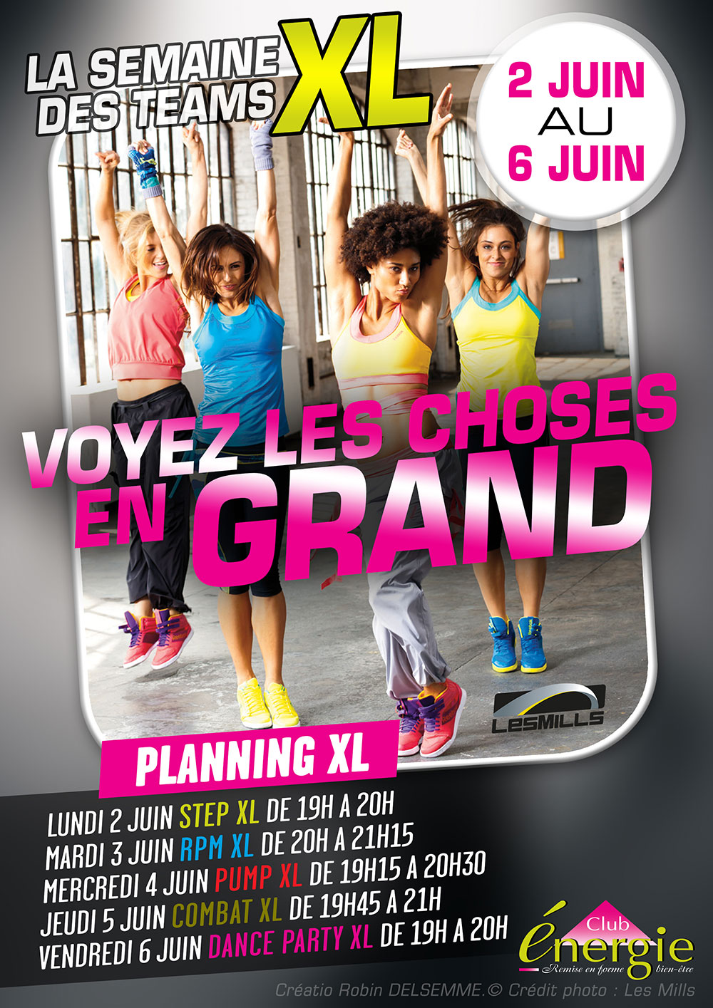 Club Energie Fitness Orleans Affiche Semaine Team XL Les Mills