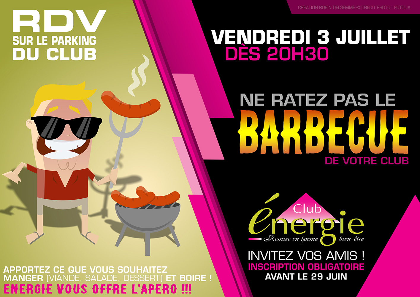 affiche barbecue party annuel 2015 club energie orleans fitness sport