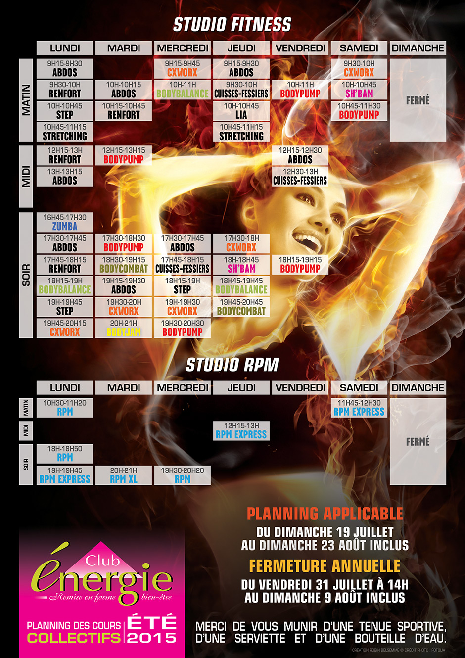 Planning cours collectifs ete 2015 Club Energie Fitness Orleans