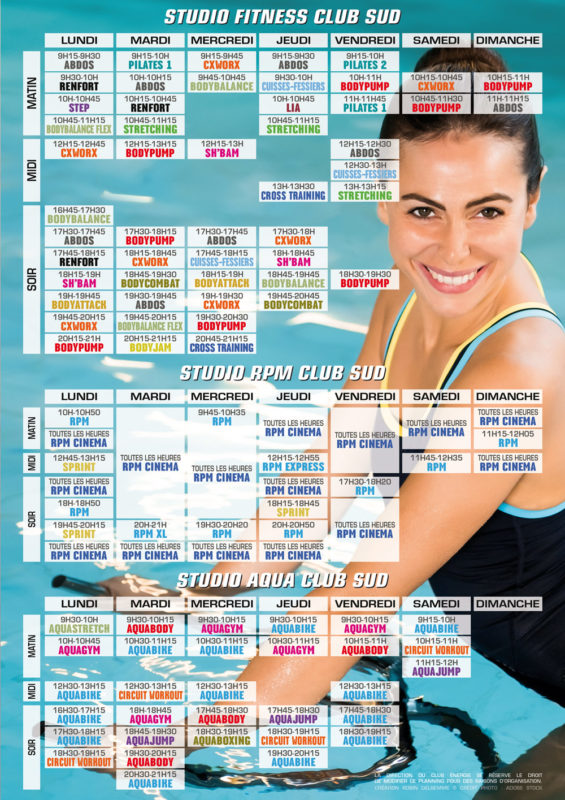 Planning des cours-collectifs Club Energie Sud