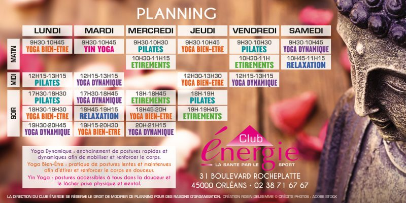 Planning cours de septembre Studio Zen Club Energie Centre