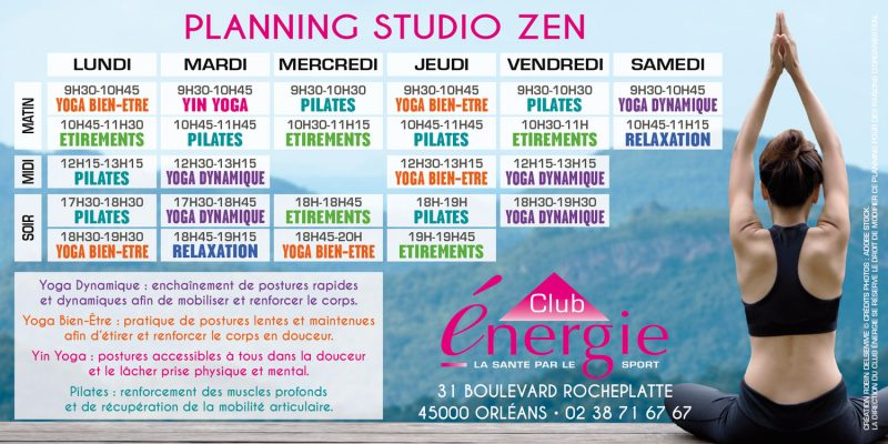 Planning Cours Septembre 2020 Studio Zen Club Energie Centre
